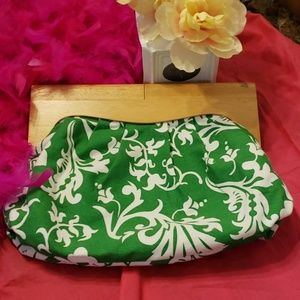 Old Navy Green and White Clutch